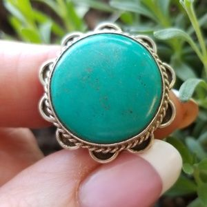 💖HP!💘 Designer Green turquoise sterling ring